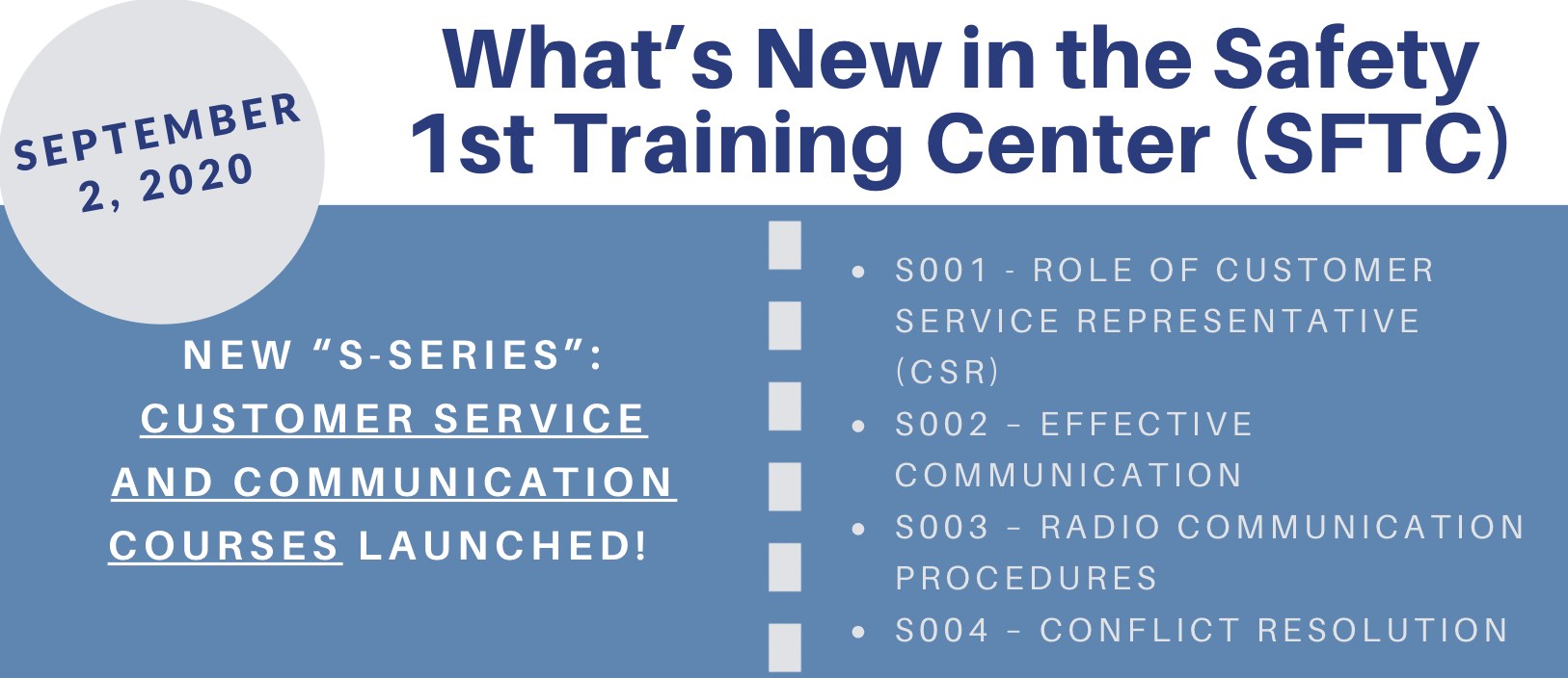 What's New in the Safety 1st Training Center (SFTC)