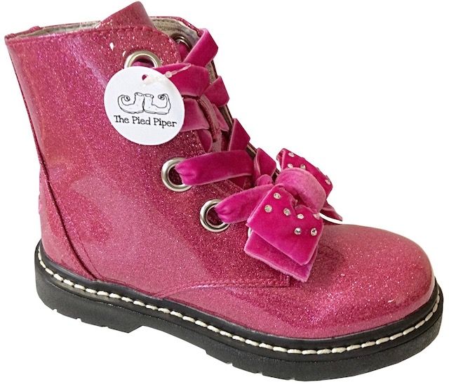 Sparkly pink DM style girls boots with a velvet and diamante bow