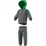 Adidas 3S Hooded Tracksuit Dark Grey-Green