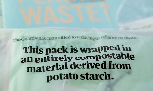Image of the Guardian newspaper organic and compostable wrapping