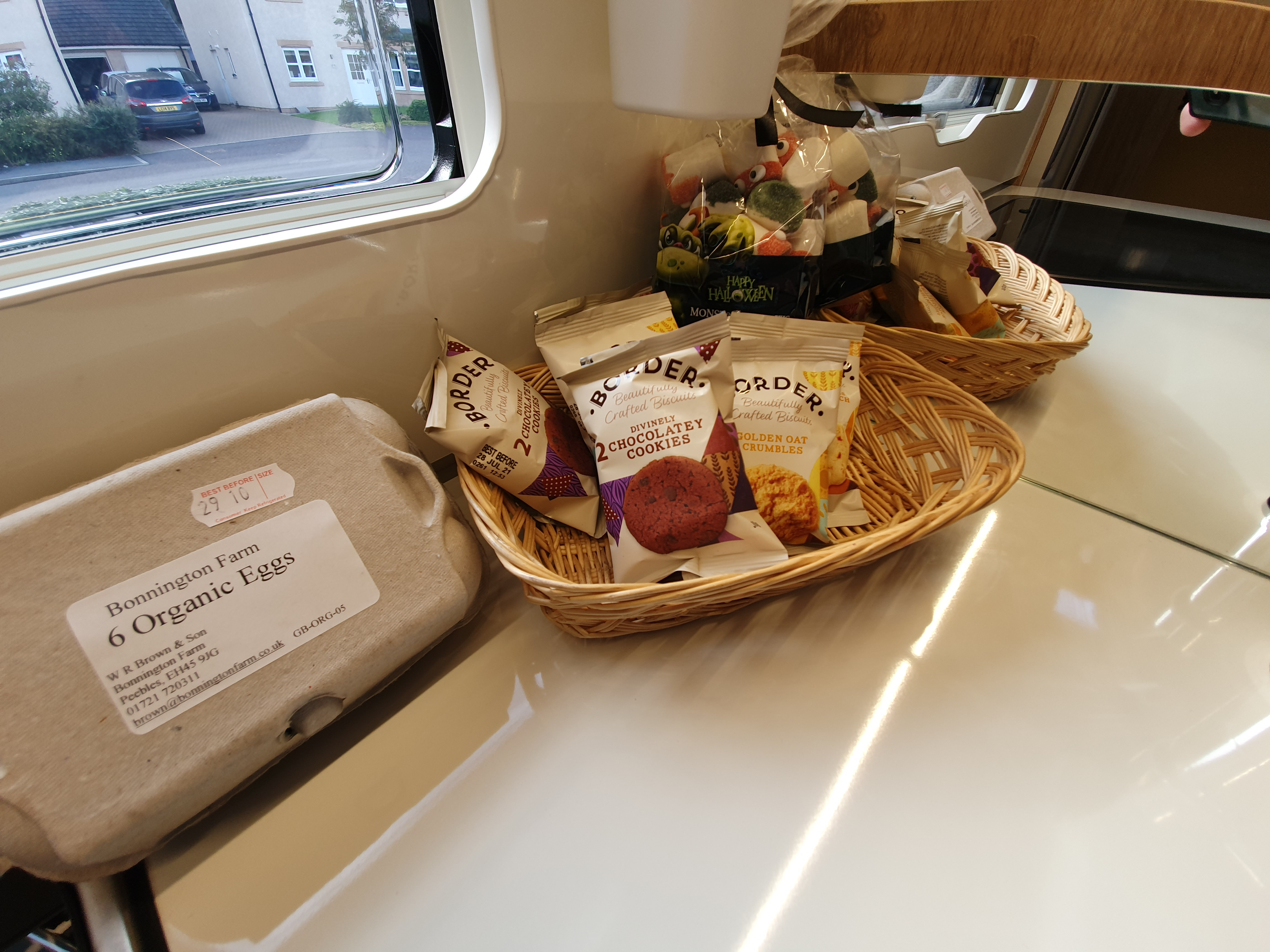 image of lovely extras including in rental, local farm organic eggs, local biscuits, croissants, kid