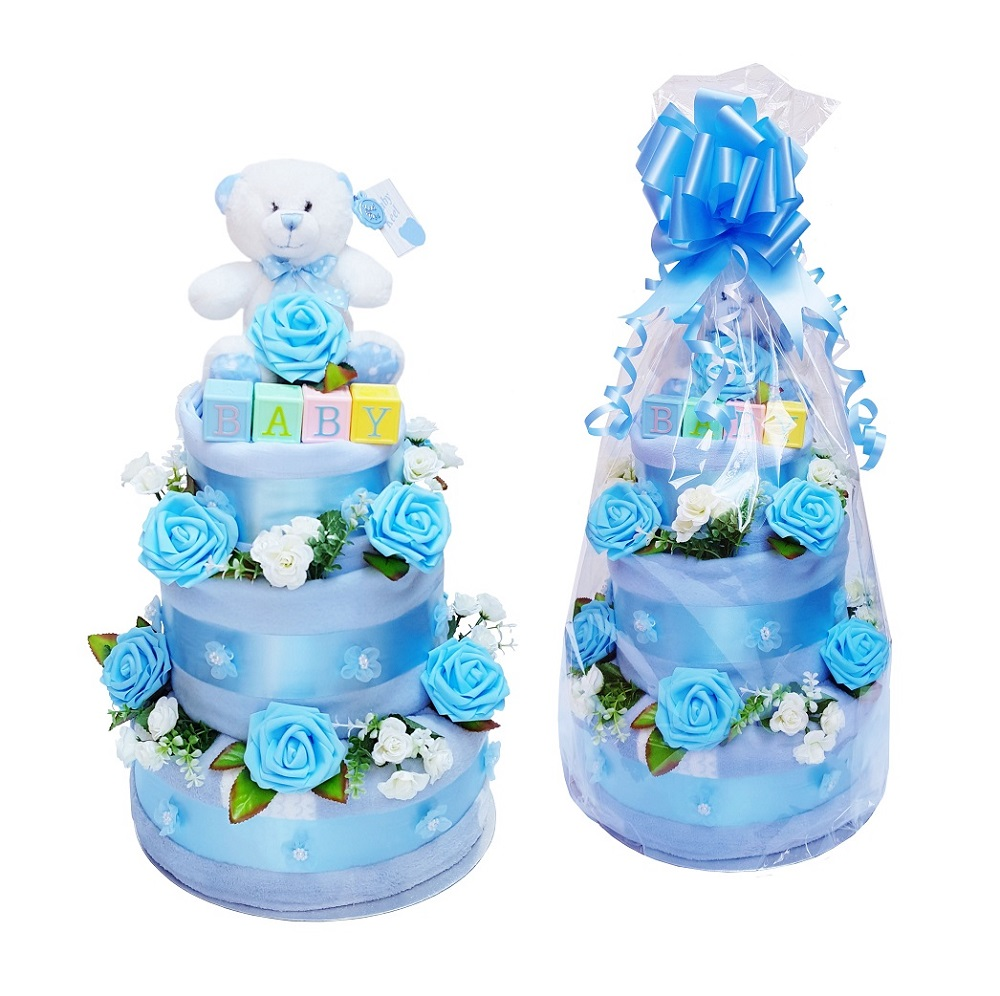 Beautiful Blue Nappy Cake for a Boy