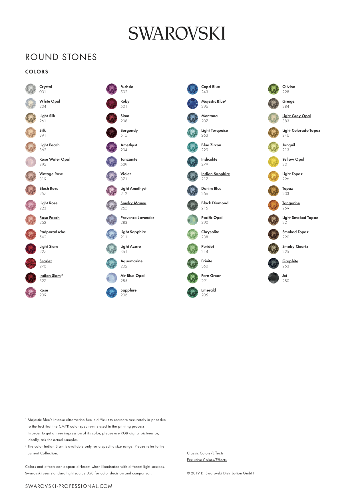 COLOUR CHART FOR ROUND STONES