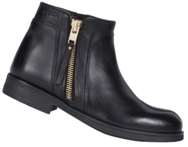 Girls' black leather ankle boot with inside zip