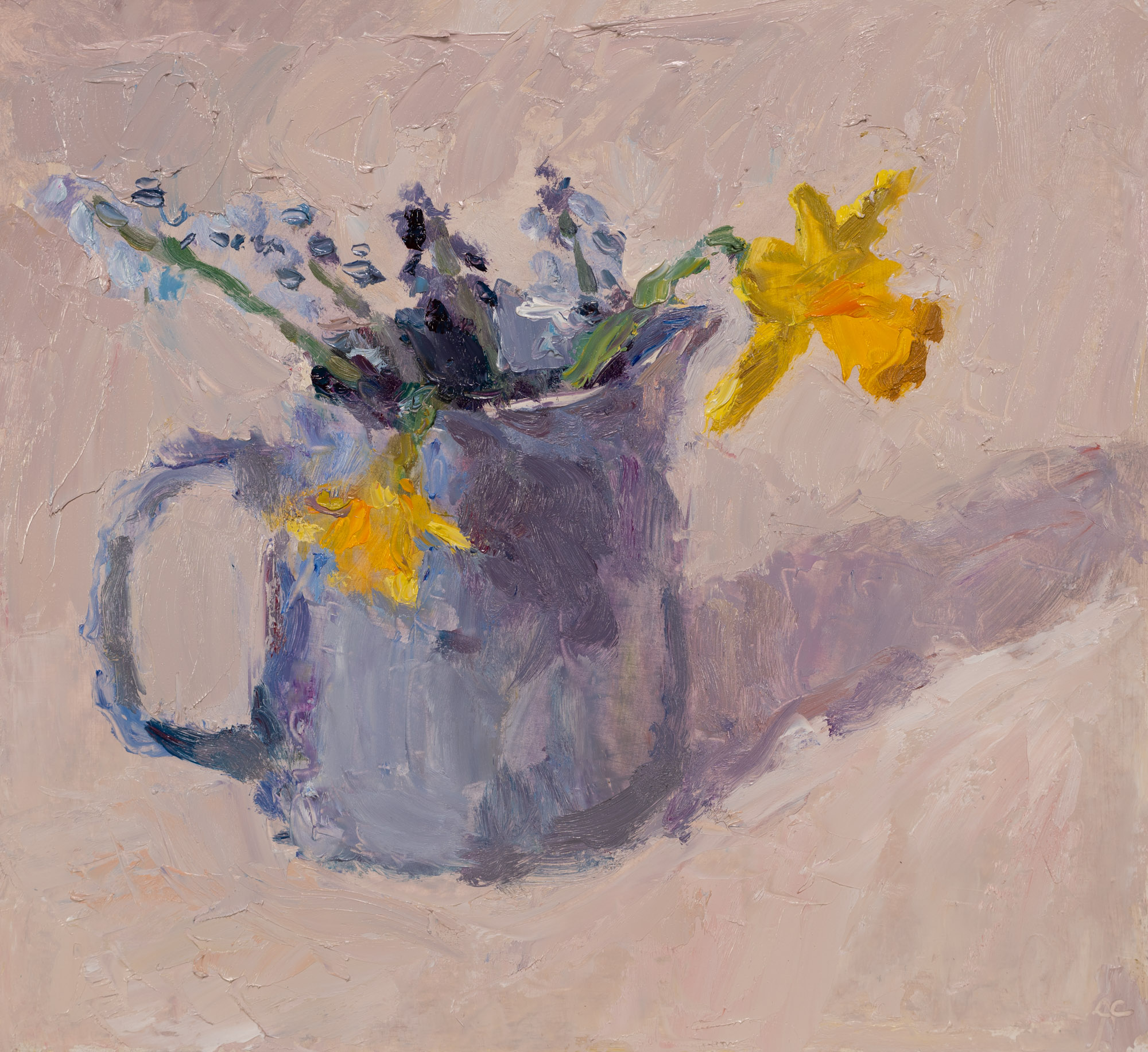 Spring Flowers in Blue Jug, Oil on Board, 25.2cm x 27.5cm (2019-19) SOLD
