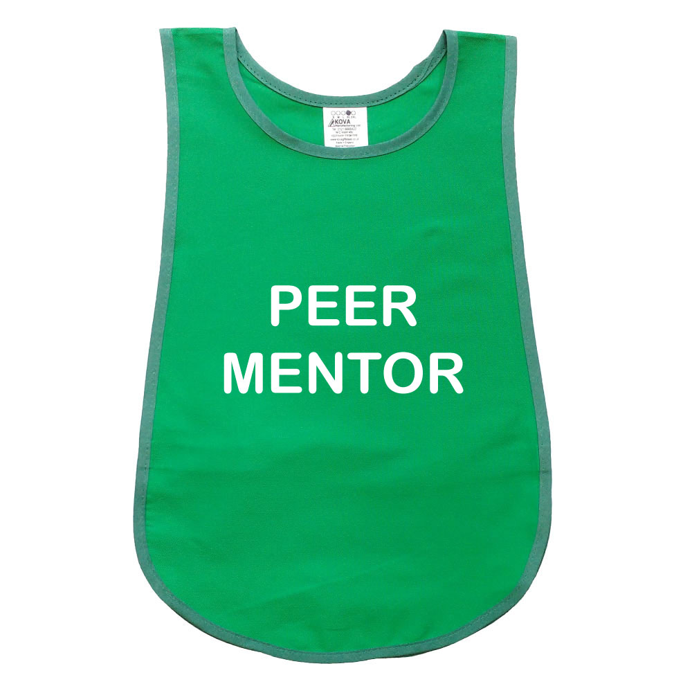 Bell Shape Kelly Green Child's Tabard. Printed Peer Mentor.