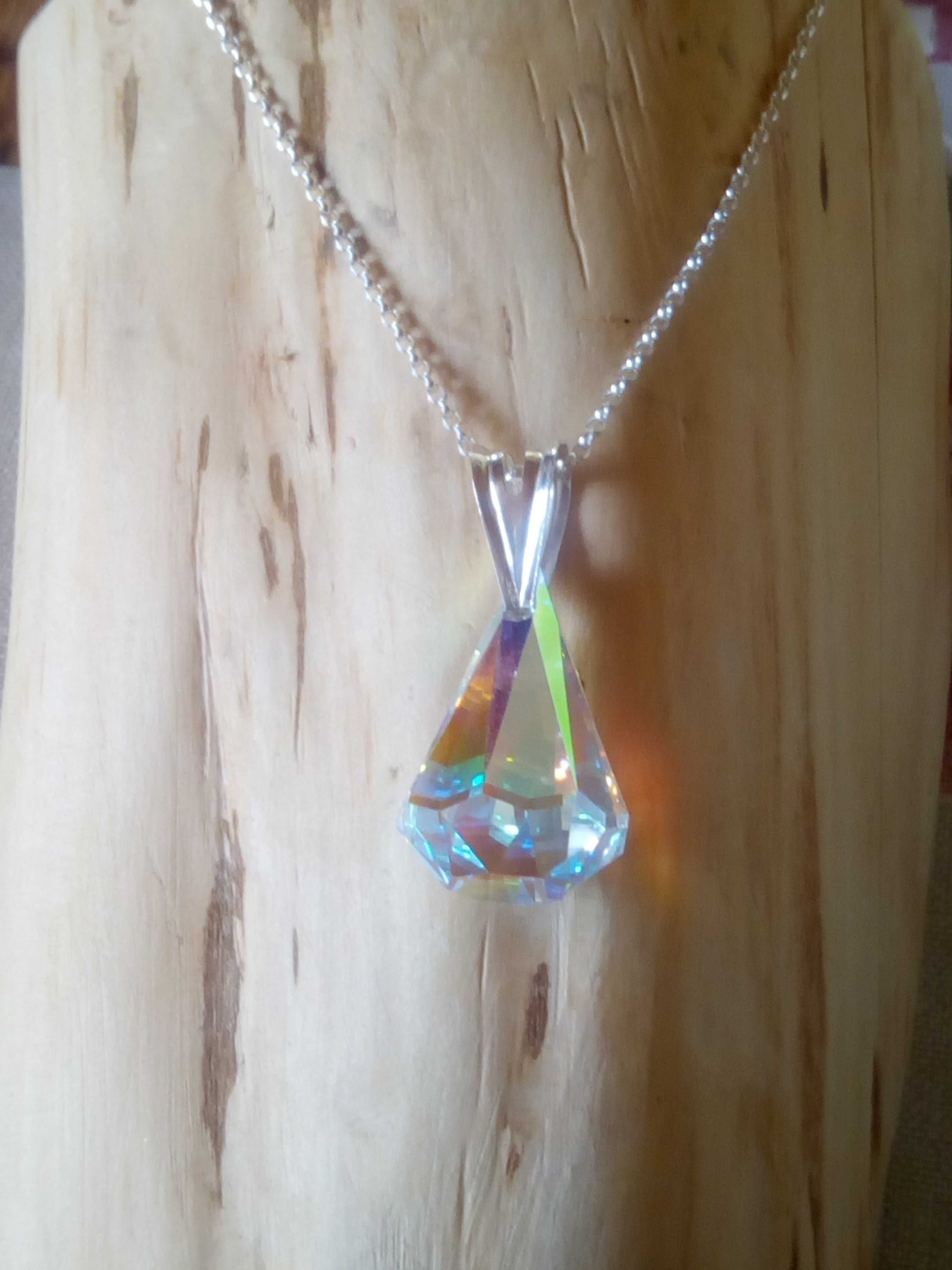 Sterling Silver Chain and Pendant with AB Swarovski Crystal 16mm