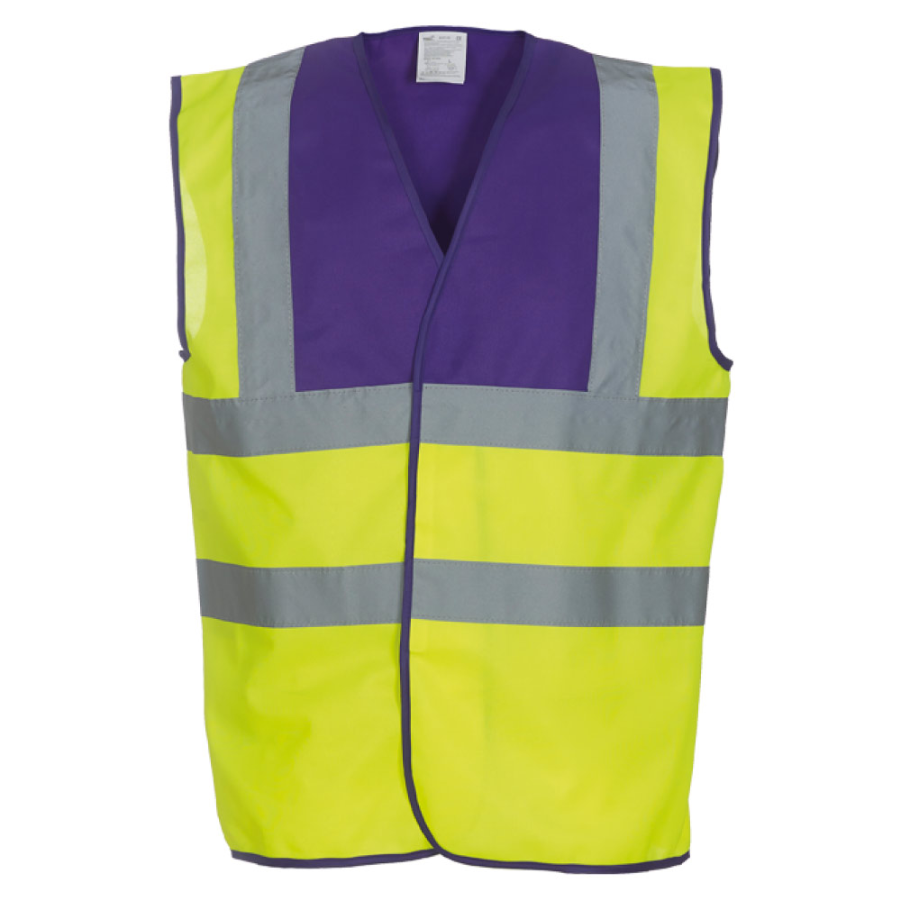 Purple Yoke & Yellow Hi Vis Safety Vests