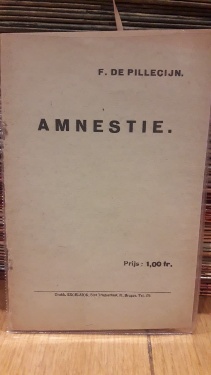 zeldzaam brochure Filip De Pilleceyn - Amnestie - 1923