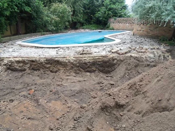 Construction of new pool surround Weybridge, Surrey