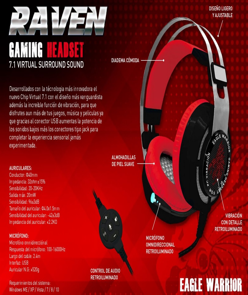 Diadema Gamer raven eagle warriorjpg