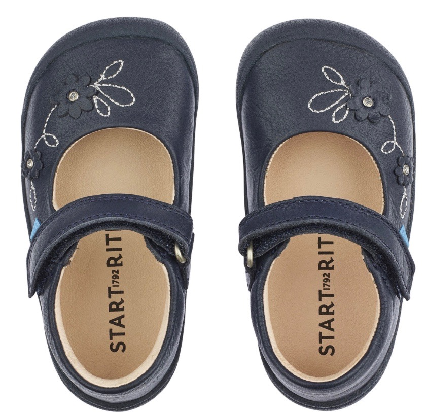 Navy blue leather girls shoes by Start Rite in mary jane style