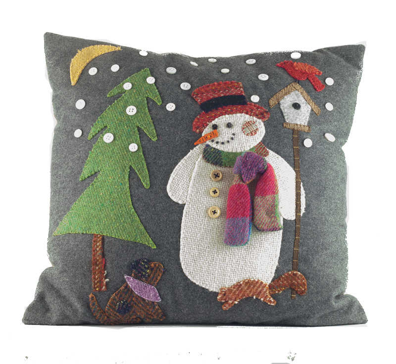 "Donegal Tweed by Fabric Affair:"" Snowman cushion kit ""."