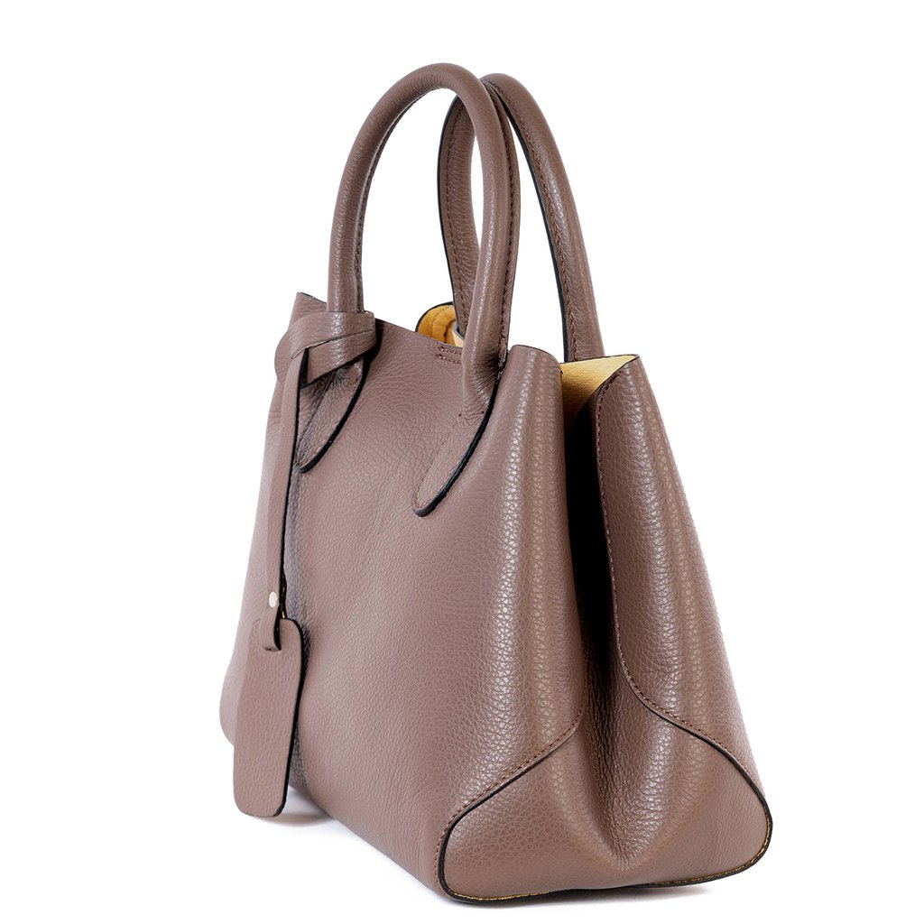 Barton Taupe Real Leather Bucket Grab Tote Bag