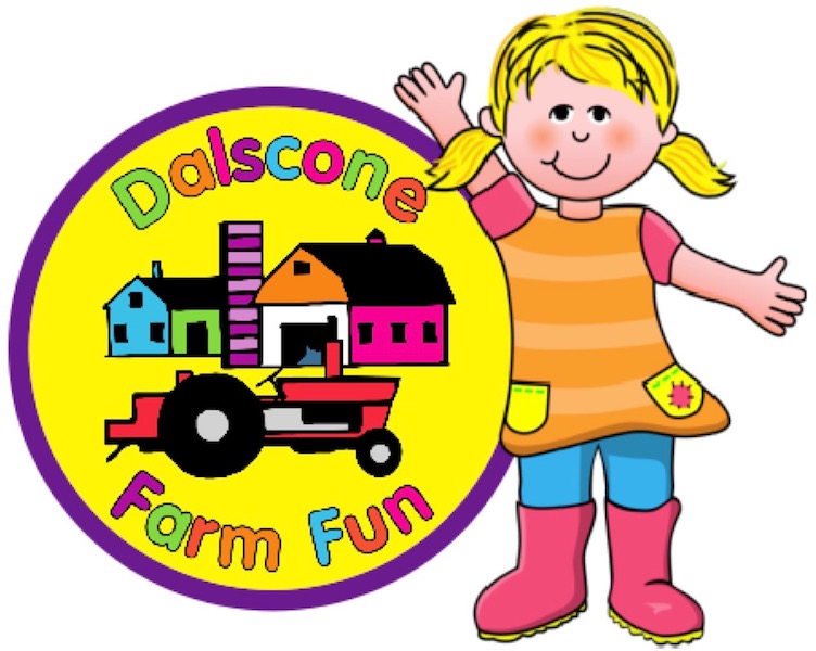 The colourful Dalscone Farm Fun logo with a happy little girl waving