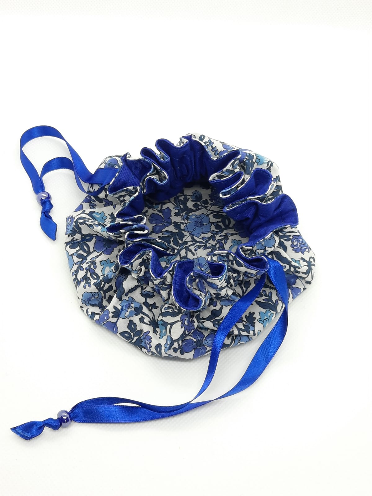 Jewellery Pouch - blue lining, blue ribbon, blue bead