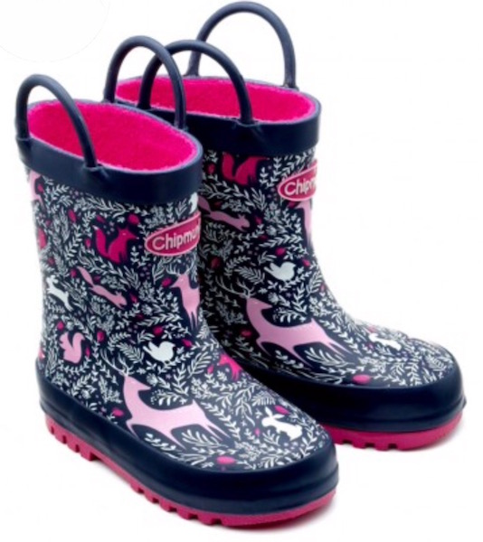 Patterned welly boots with pull up straps for toddler girls