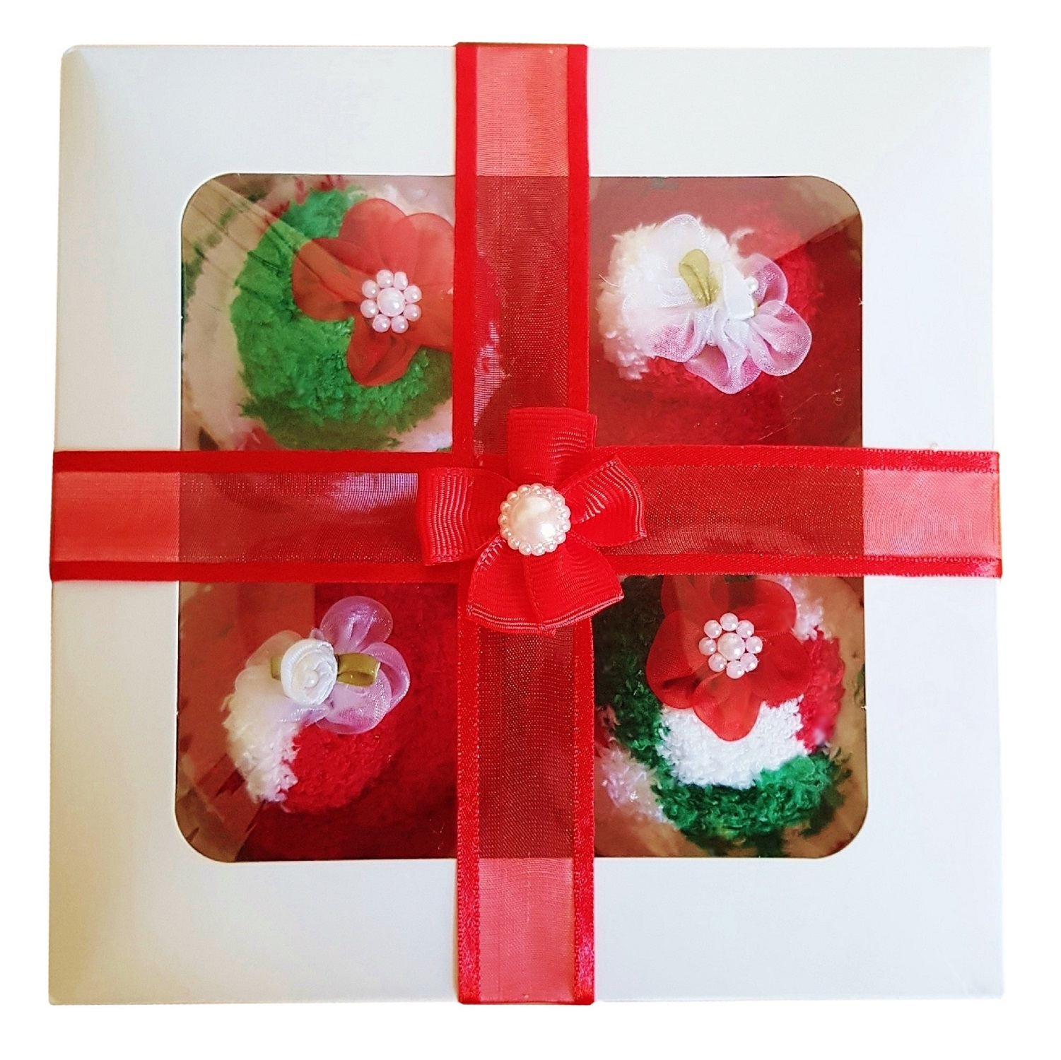 Women's ' Christmas Cozy Sock' Cupcakes, Red Ribbon Gift Box *ON SALE*