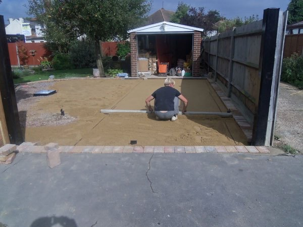 Driveway under construction in Egham, Surrey