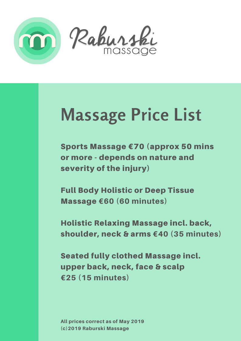 Raburski Massage Price List