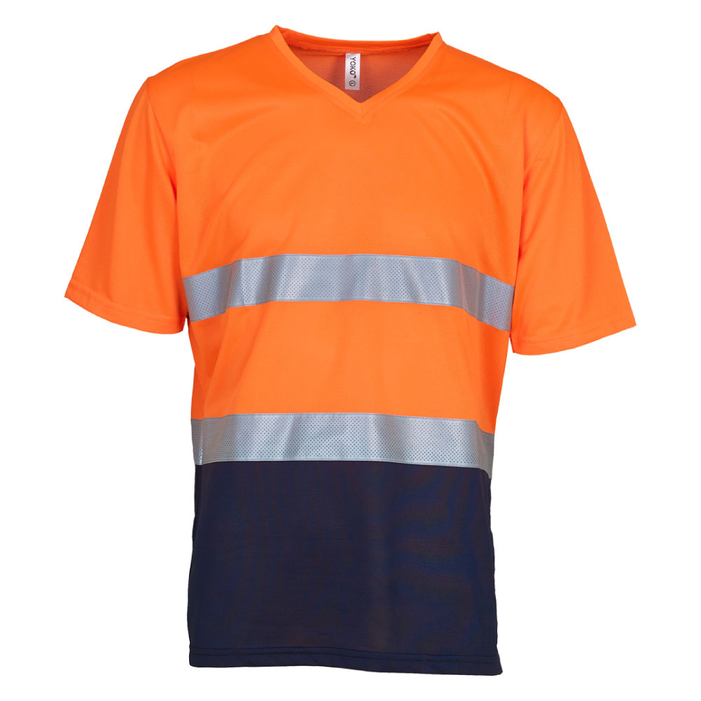 V-Neck Hi Vis Orange & Navy T-Shirt