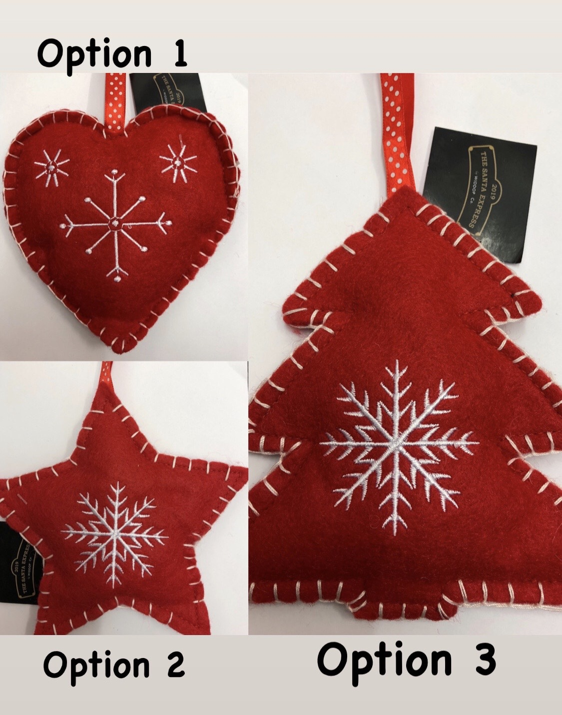 Hanging Felt Christmas Decoration - 3 DESIGN OPTIONS
