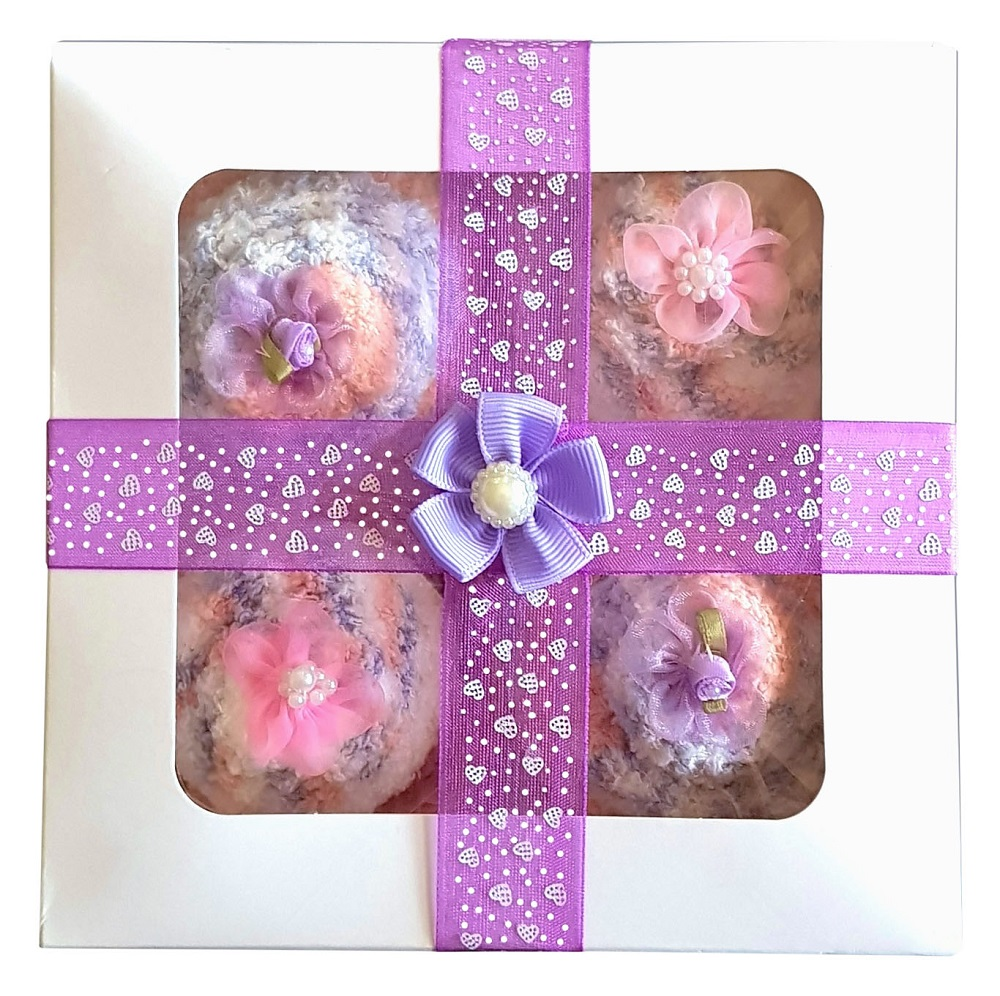 Women's 'Cozy Sock' Cupcakes, Purple Ribbon Gift Box