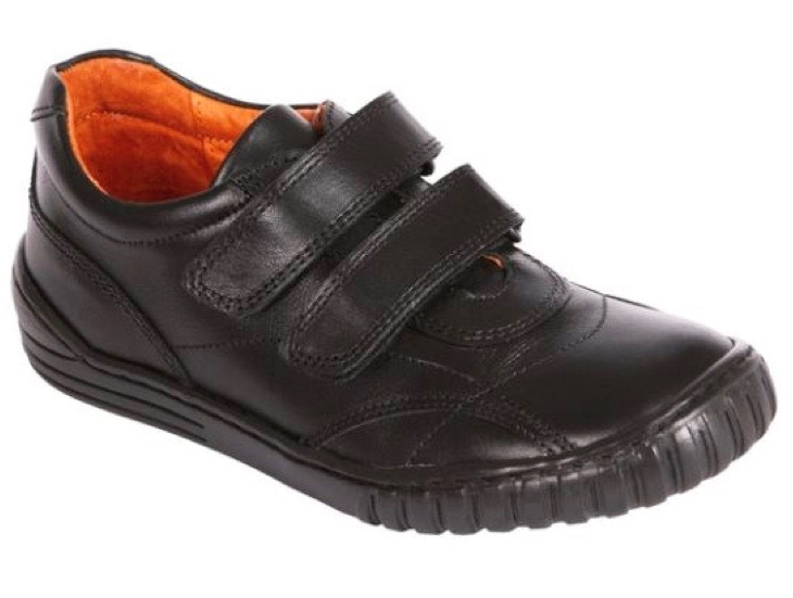 Black leather trainers with velcro fastenings