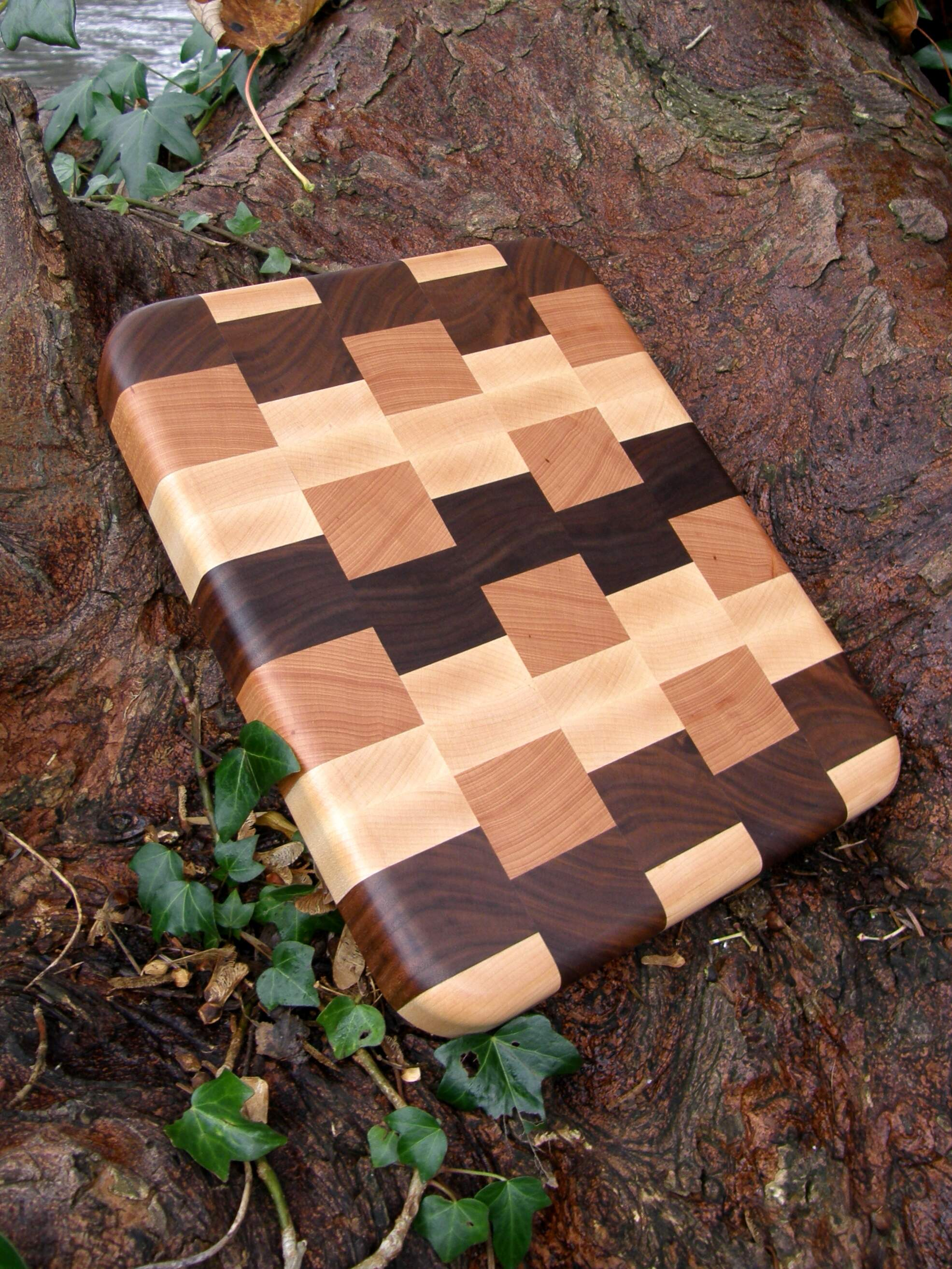 First size End Grain Chopping Board Handmade in Cherry, Walnut & Maple.