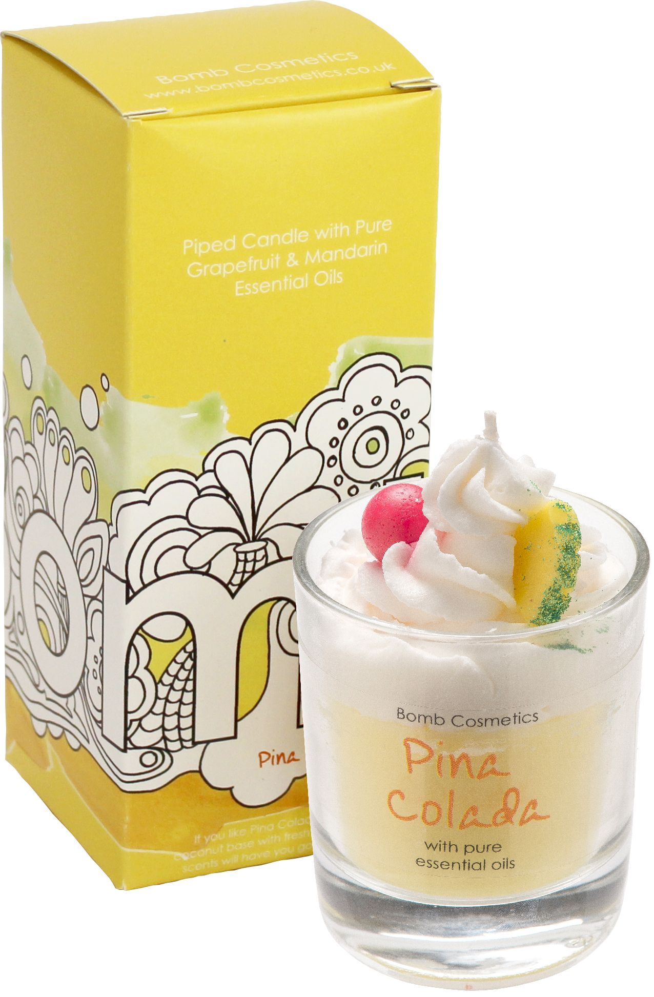 Pina Colada Piped Glass Candle by Bomb Cosmetics