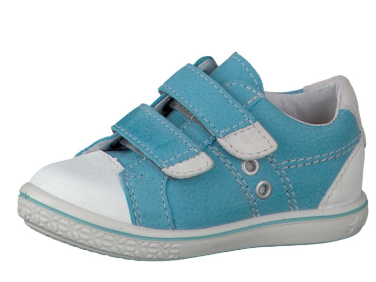 Light blue and white leather toddlers trainers
