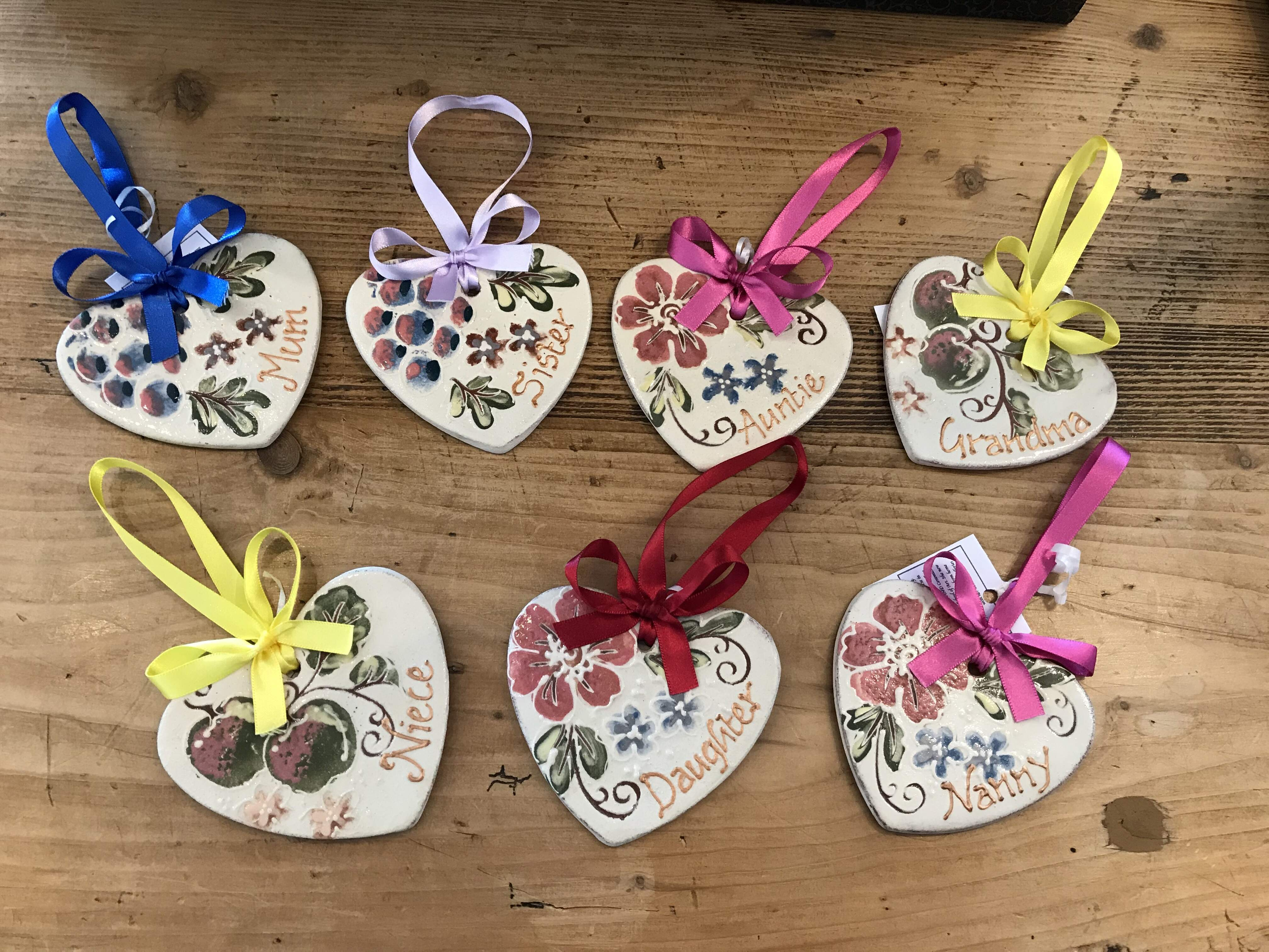 Pottery Hanging Hearts - Family