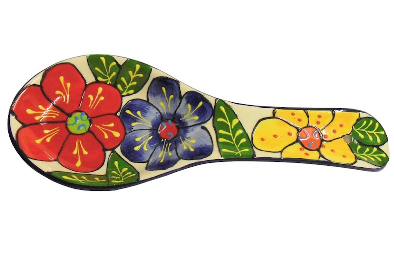 Spanish ceramic spoon rest with large flower design