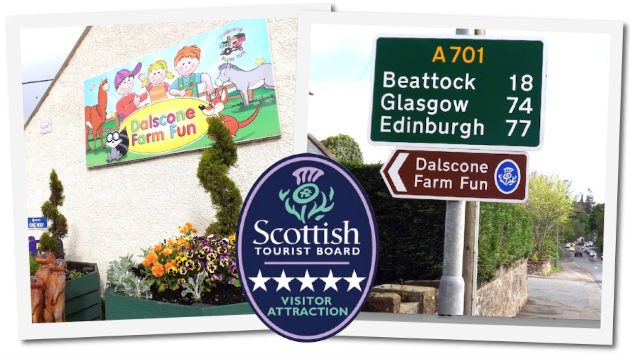 Directions to Dalscone Farm Fun Dumfries Scotland - a Great Day out for thw whole family come rain or shine!