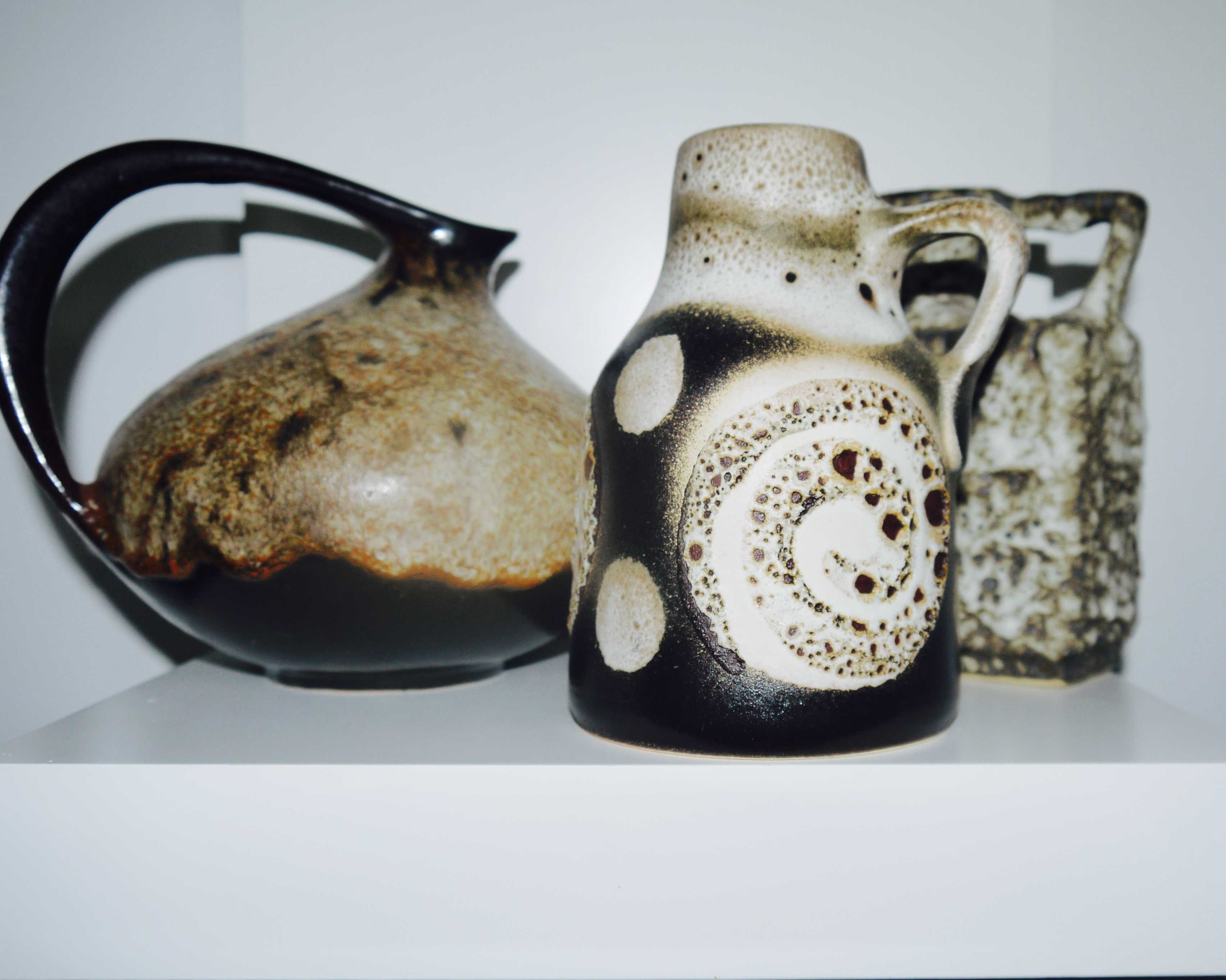 A Collection of Three Fat Lava West German Vases inc. Ruscha 313