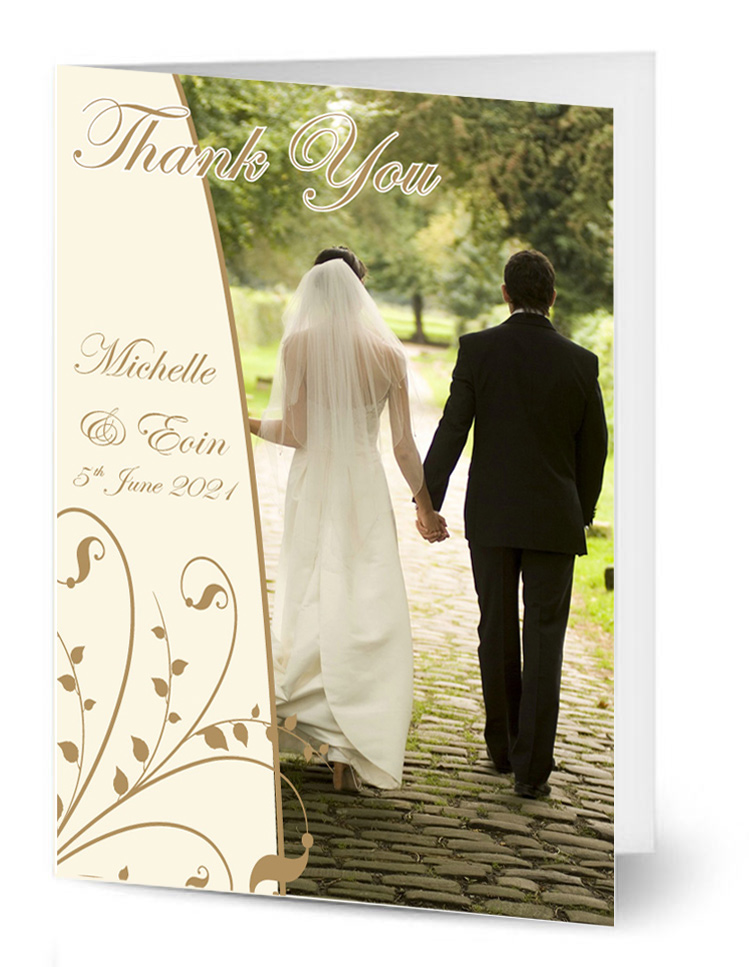 Ivory Gold Floral Wedding Card