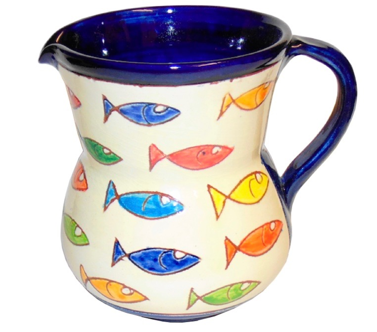 Blue Jug from the Coloured Fish Range of Spanish Ceramics