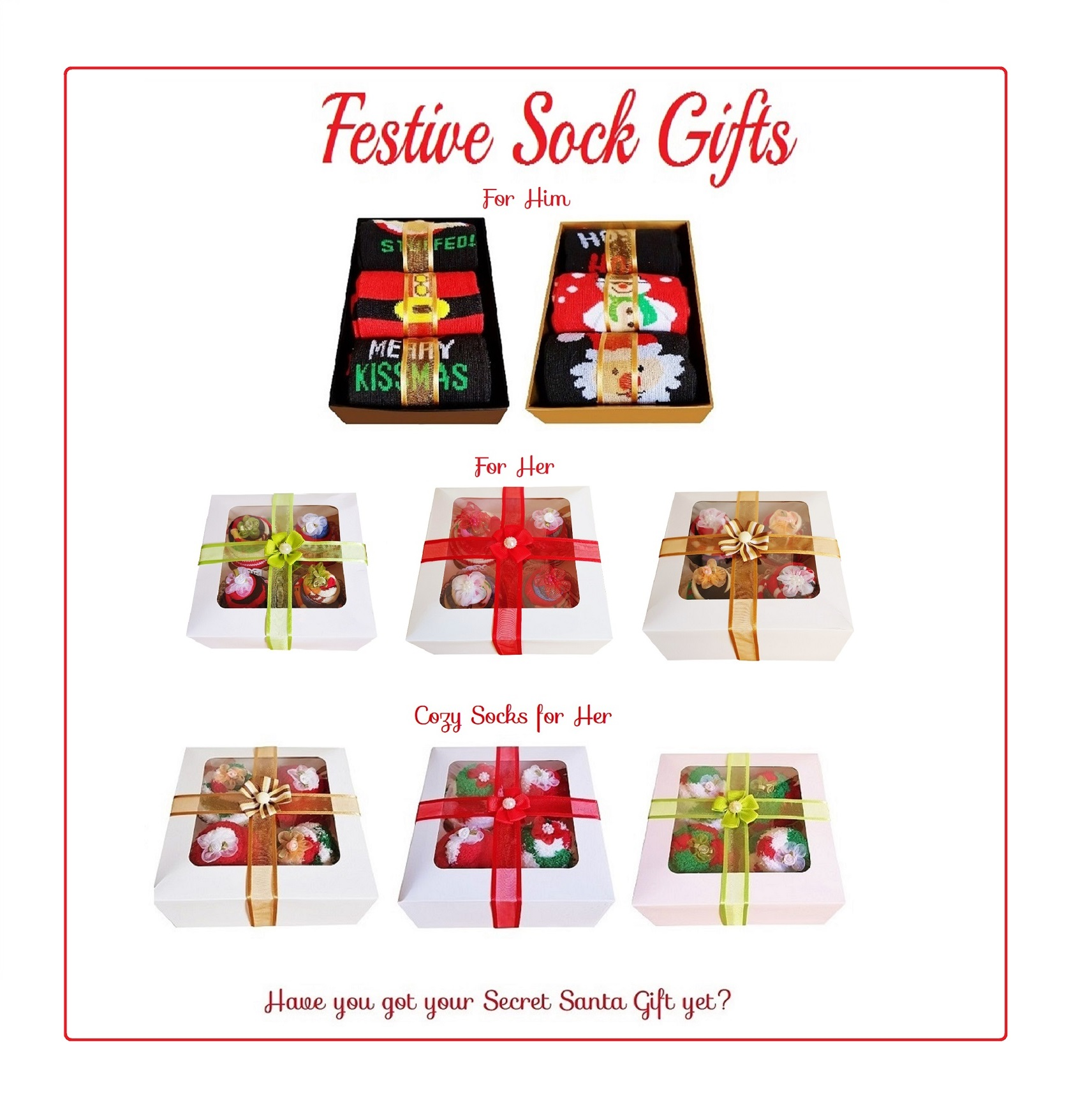 Women's Sock Cupcakes, Red Ribbon Gift Box  *ON SALE*
