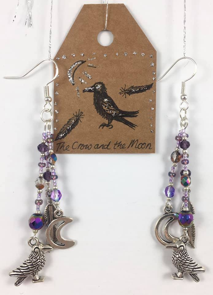 'The crow and the moon' story earrings