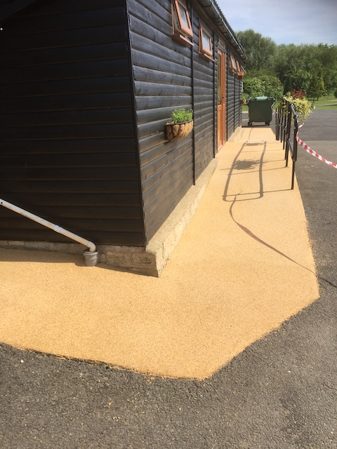 New resin bond office building pathway