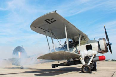 Photo of Fairey Swordfish starting up with smoke