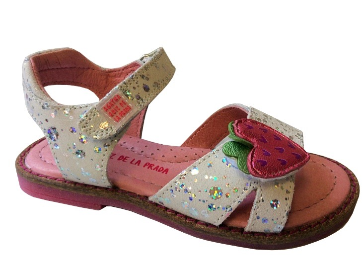 Open toe sandals with a strawberry motif and glitter appliques for young girls
