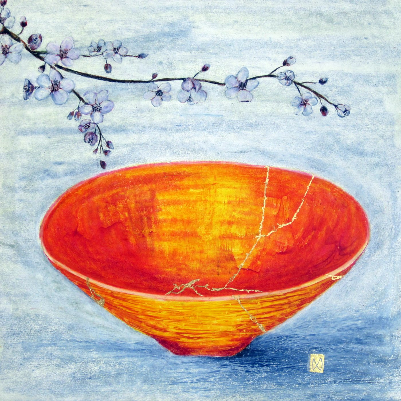 Contemporary painting of a yellow orange red kintsugi bowl with apricot blossoms and  gold repair.