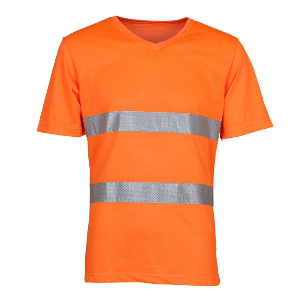 Fashion V-Neck Hi Vis T-Shirt Orange