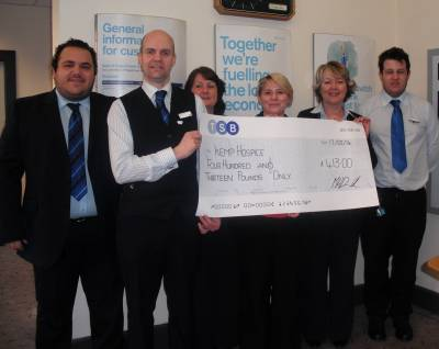 Local Bank TSB raise valentine cash for KEMP Hospice