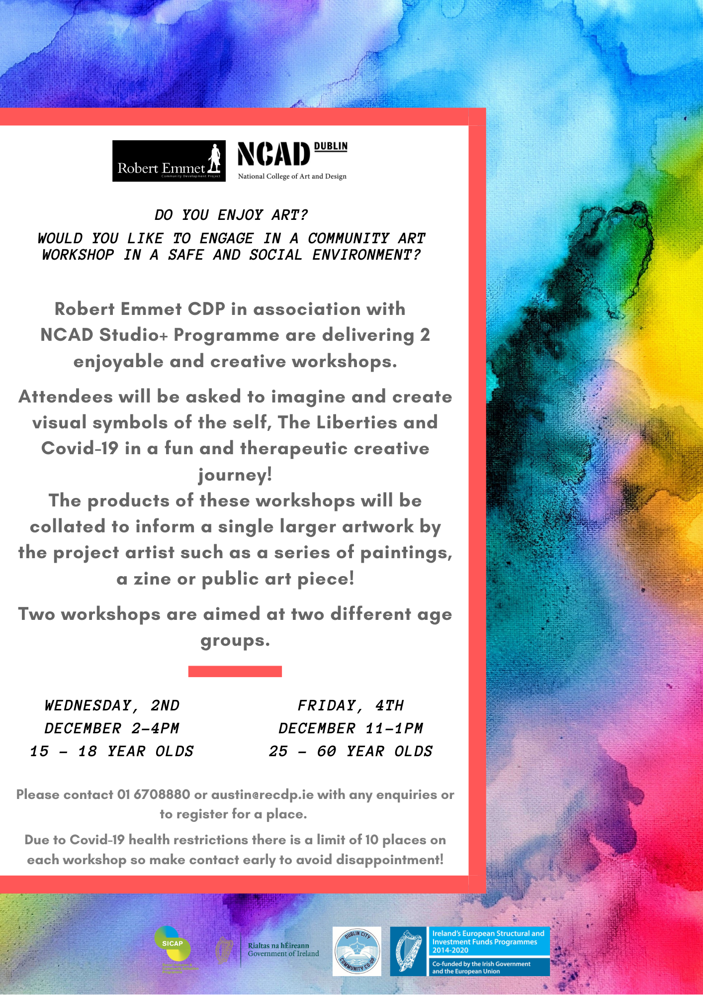 Do you enjoy art_ Would you like to engage in a community art workshop in a safe and social environment_ 1png