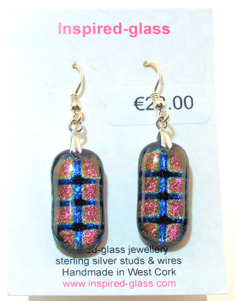 Fused-glass jewellery - drop earrings - 114