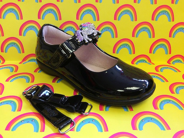 Lelli Kelly black patent leather girls shoes with unicorn embellishment on strap, also comes with plain strap