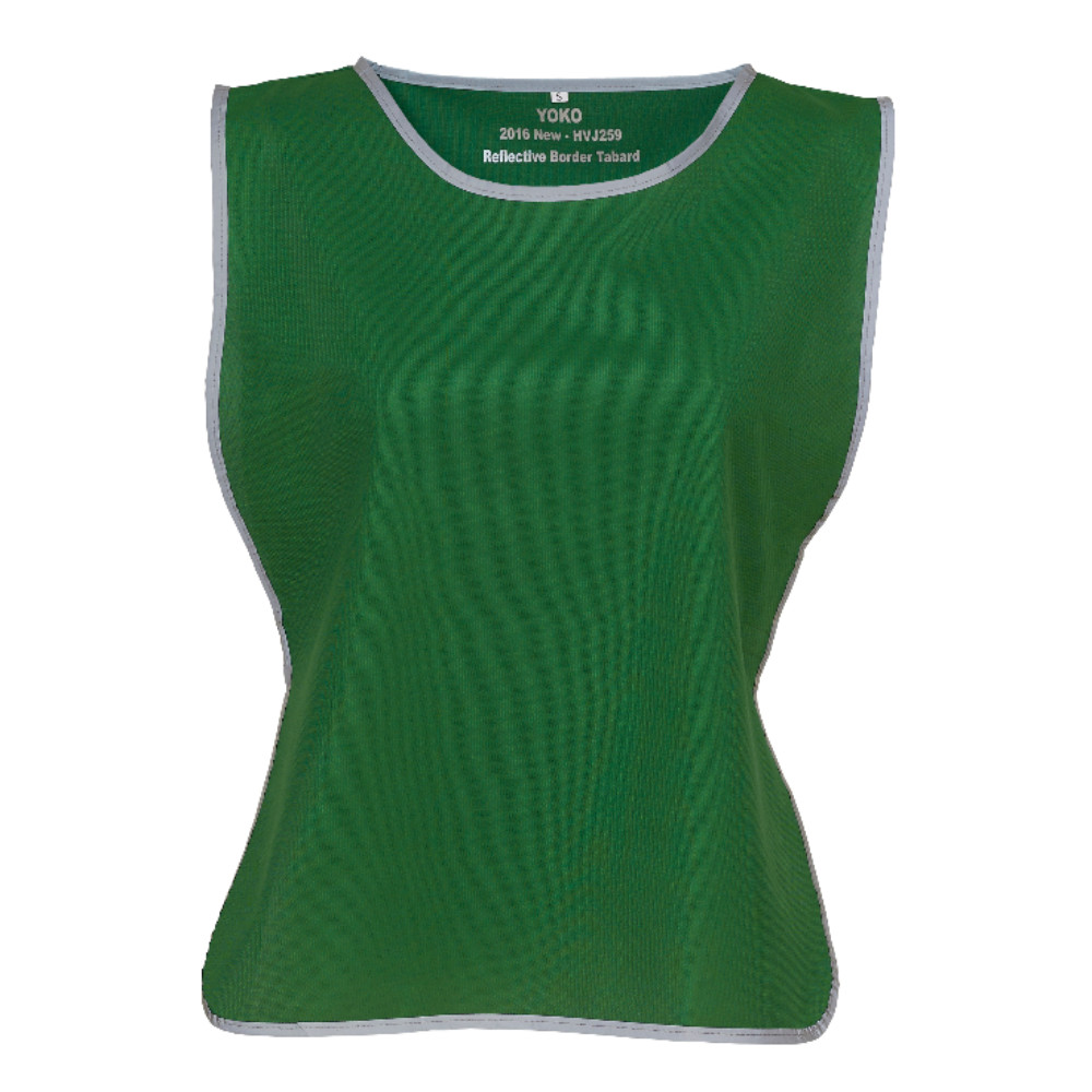 KHVJ259 Green Lightweight Polyester Tabard with Reflective Trim