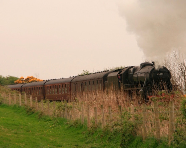 A steam engine passing East Challoch Farm